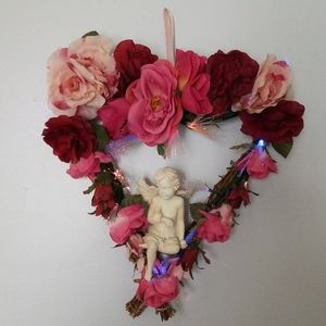 Valentine Fiber optic Floral Cherub Door Hanger